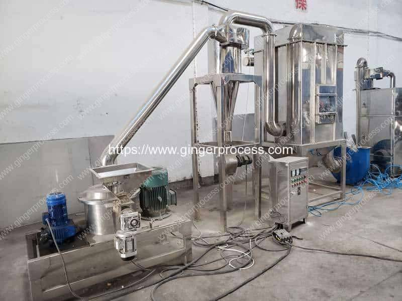 Full-Automatic-Continuous-Working-Ginger-Powder-Crushing-Making-Machine-with-Dust-Collector